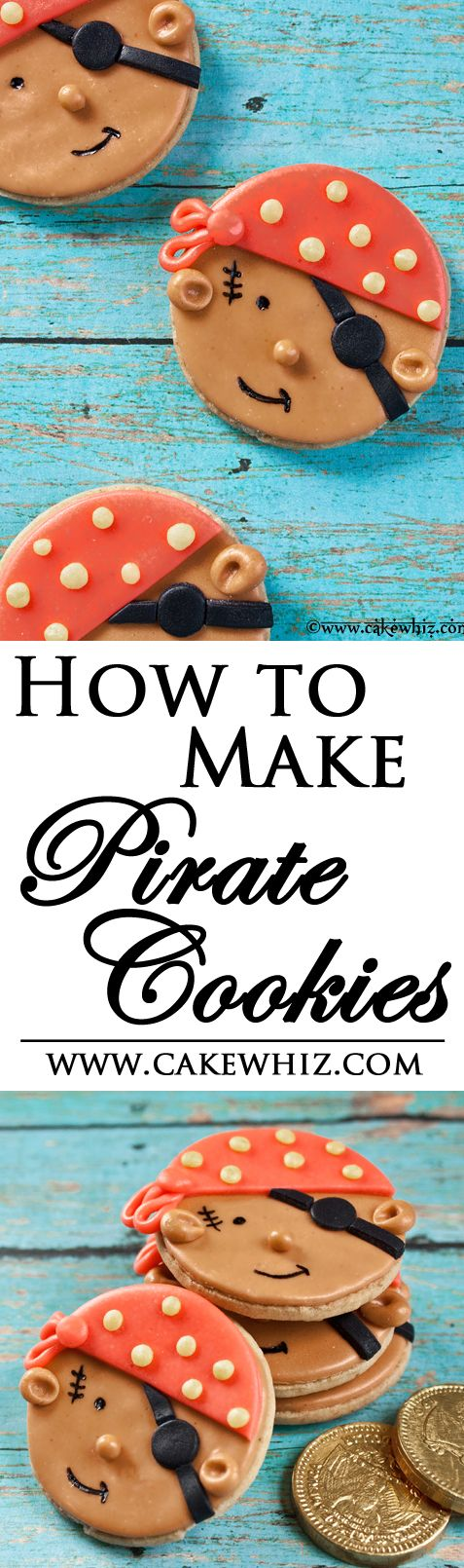 Use this step by step tutorial to make cute PIRATE COOKIES! Great for pirate themed birthday bashes for boys! From cakewhiz.com