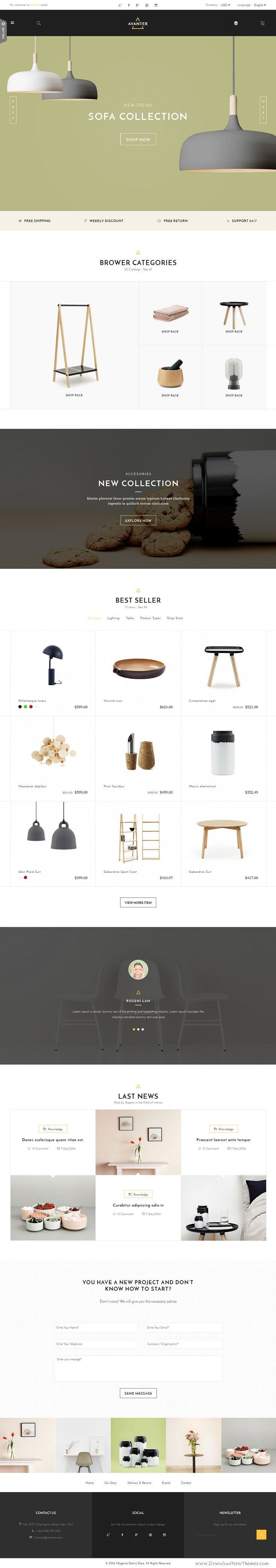 Avanter is a fully responsive #Magento Theme with a clean, minimalist and elegant design. The theme is so easy to customize, highly flexible with a powerful admin panel that help you easily build a fully-functional online store with eye-pleasing presence. #eCommerce #template