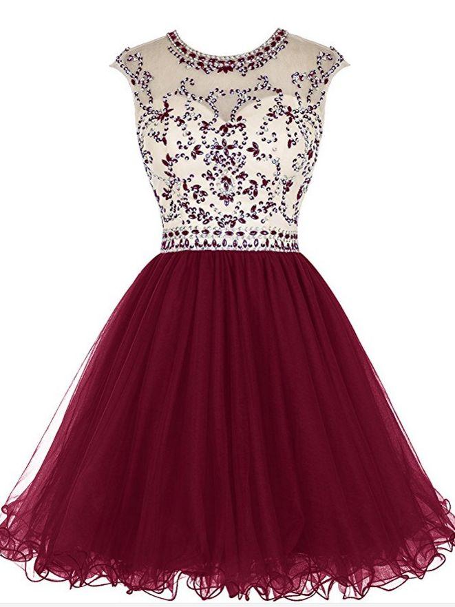 Short Beading Prom Dress Tulle Evening Dress Hollow
