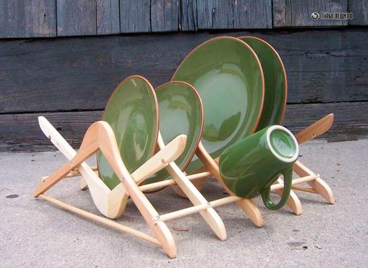 Подставка для посуды из плечиков  для одежды