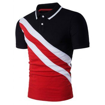 SHARE & Get it FREE | Oblique Stripe Panel Color Block Polo T-ShirtFor Fashion Lovers only:80,000+ Items·FREE SHIPPING Join Dresslily: Get YOUR $50 NOW!