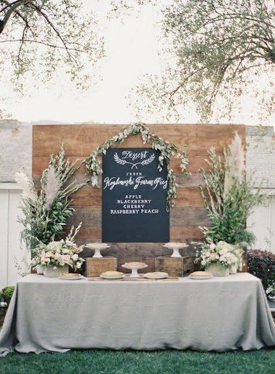 pie dessert bar with chalkboard menu / http://www.himisspuff.com/wedding-dessert-tables-displays/6/