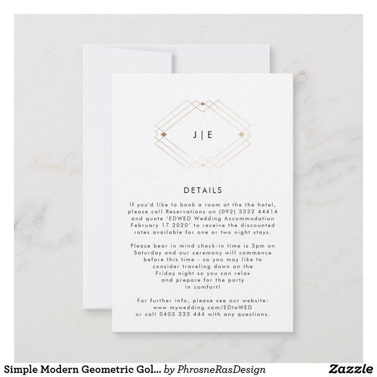 Simple Modern Geometric Gold Wedding Details Card By Phrosne Ras Design Detailscard Wedding Details Card Geometric Wedding Invitation Wedding Enclosure Cards