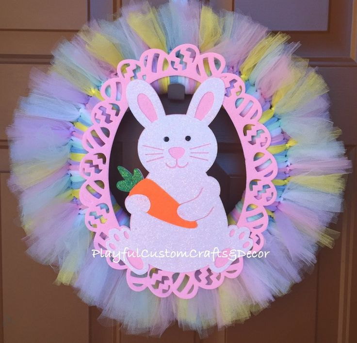 """Beautiful Easter Bunny Wreath made from pastel colored tulle. Measures about 24"""" across Some details may vary slightly as my wreaths are re-created once original sells 3-5 business days before it ship"""
