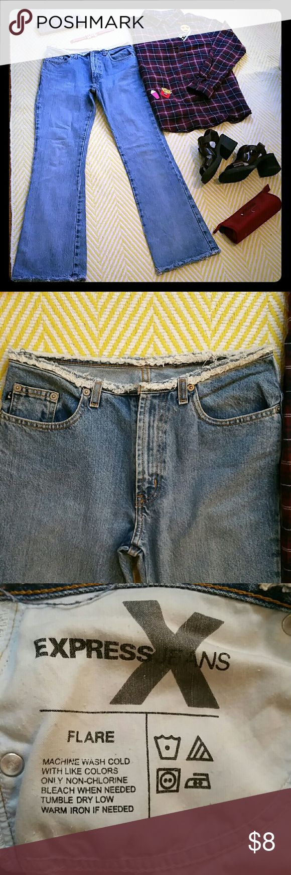Express X Frayed Waistless Jeans Size 2 Unique Express jeans where the waist has been cutoff and frayed. I did not do this myself. It came this way.  Ultra sexy Flare cut. I did remove the tag bc it was aggravating my back. Sits very sexily right above the hip bone.   Absolutely excellent condition.  Measurements taken laid flat: Waist across - 14.5 in Hips across - 19.0 in Inseam - 31.5 in Express Jeans Flare & Wide Leg