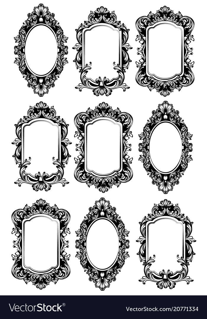 Vintage Mirror Frames Set Collection Of Vector Image On Vectorstock In 2020 Vintage Frame Tattoo Mirror Tattoos Framed Tattoo