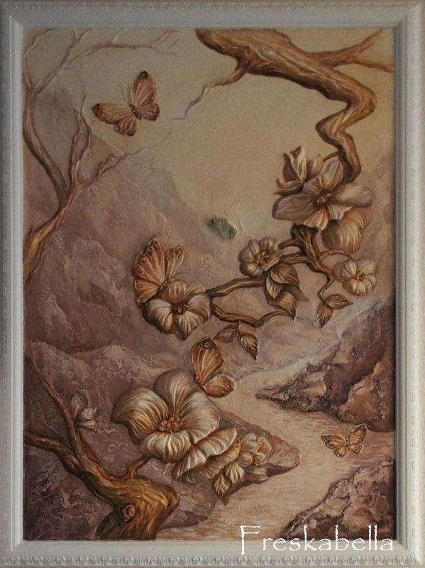 Цветы и бабочки | Искусство, Стена отделка, Цветы