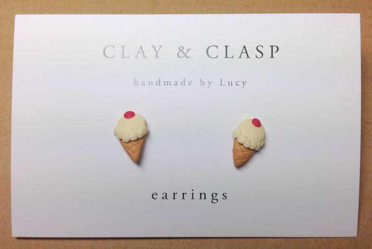 Ice-cream Earrings - beautiful handmade polymer clay jewellery by Clay