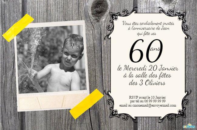 carte invitation gratuite a imprimer 60 ans | 60 ans - Cartes et invitations gratuites - 123 cartes