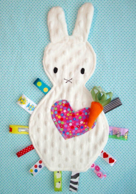 Tag Blanket/ Lovey Toy Little Boo Bunny w/ Minkee by aebaby, $18.50