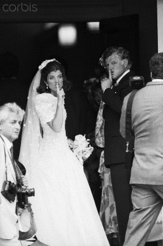 Teddy and Caroline Kennedy on her wedding day telling the crowd to shut it!