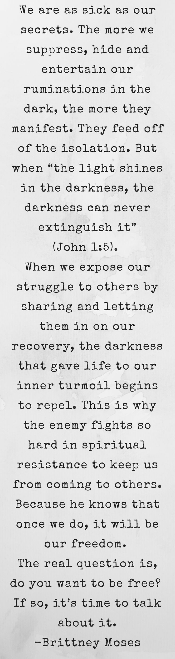 One of the greatest deceptions of recovery is that we're better off trying to fix things alone.