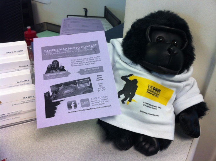 Don't leave a gorilla hanging! Submit a photo that you feel best represents UC Davis and it could be used as the cover of our campus map next year. #MapPhotoContest