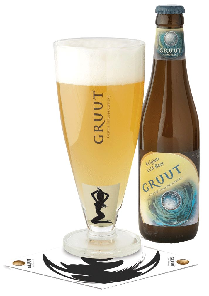 Gruut White Gruut White beer is very aromatic with a fragant fruity smell and a slightly herbaceous sharpness. The body is light, but soft; Thanks to the spices, the flavors are 'round', very fine and complex. The first impression is a spicy dryness, but there is also a slight, creamy sweetness underlying.   Bottle: 33cl   Keg: 20L – 50L   Alc. 5% by vol.   Product of Belgium (Ghent)