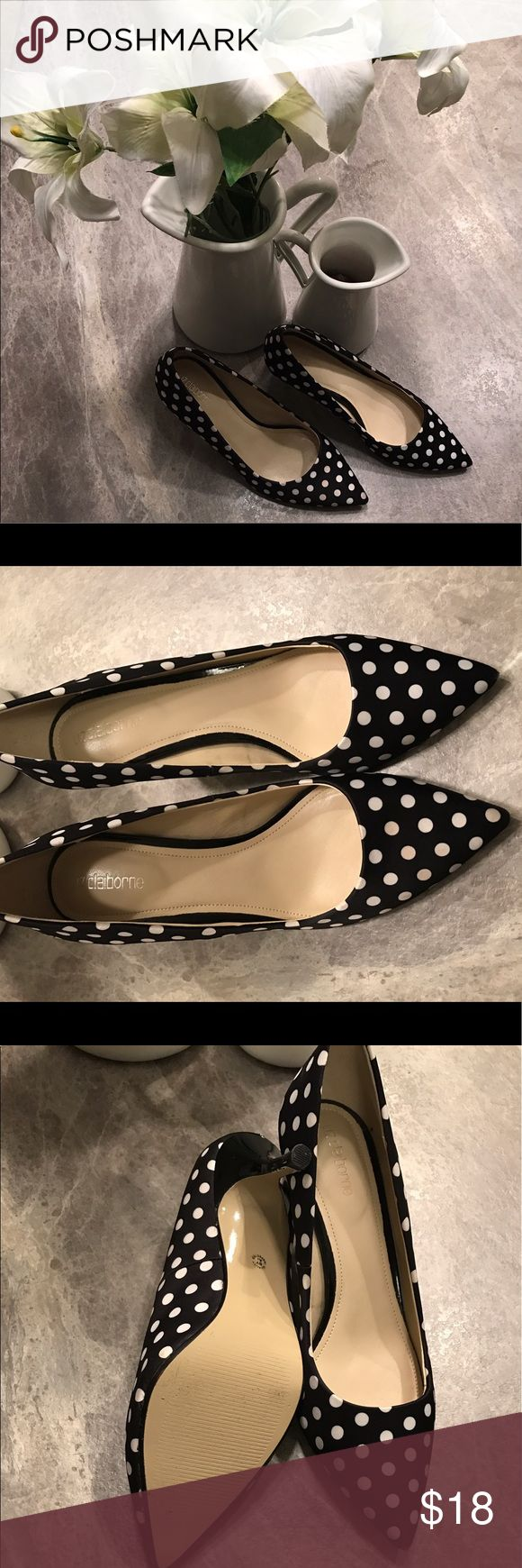 Liz Claiborne polka dot kitten heels Black and white polka dot pumps. Super comfy and perfect fit. EUC Liz Claiborne Shoes Heels
