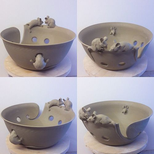 "Large 10.5"" diameter unfired custom mice yarn bowl with four needle holes. Custom orders via earthwoolfire.etsy.com"