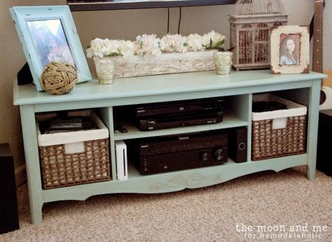 entertainment center makeover to tv console, The Moon and Me on Remodelaholic