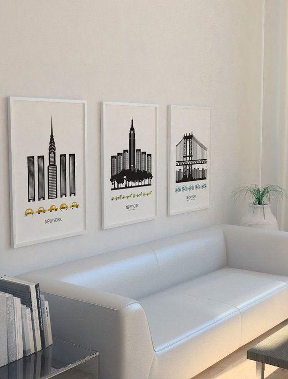 Illustration moderne de New York et Manhattan bridge, avec une touche scandinave. :)  -Imprimé sur 200g papier Epson Premium mat,…