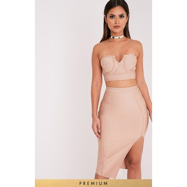 Caitlyn Camel Premium Bandage Bralet - 6 (£20) ❤ liked on Polyvore featuring tops, camel, bandeau tops, fitted tops, camel top, pink bandeau top and bralet tops