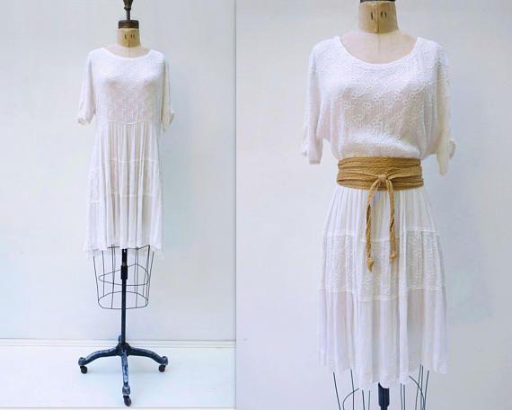 Vestido Boho blanco bordado vestido blanco India Vestido de encaje blanco vestido de los años 90 Boho Vintage Vestido de verano de los años 90 Festival vestido Hippie vestido s m