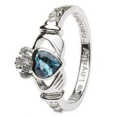 DECEMBER Birth Month Silver Claddagh Ring LS-SL90-12 – Size: 7 Made in Ireland.