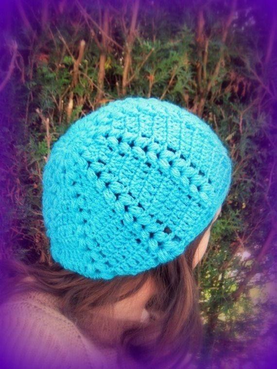 Bonnet slouch turquoise crocheté main tricoté main Créateur Unique : Chapeau, bonnet par c-comme-celine