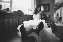 Ruffles wedding dress - Black and white wedding photo  - www.meyleabridal.co.za