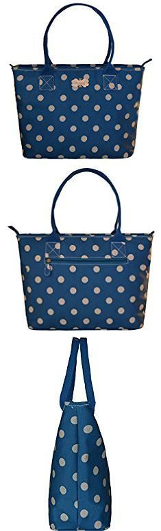 Coated Cotton Handbags. Shoulder Bag For Women Large Floral Top-Handle Shoulder Handbag Purse Waterproof (Blue Polka Dot).  #coated #cotton #handbags #coatedcotton #cottonhandbags