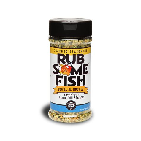 Dinner has never been more satisfying than when you use Rub Some Fish. Salmon swim upstream and shrimp peel their own shells to get in on the action. Lemon, dill and sesame combine to make the perfect lure for your next BBQ. Rub Some Fish will have you hooked.