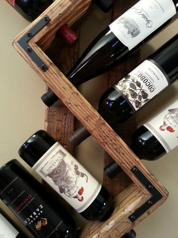 Wine rack. 12 bottle wine rack. Unique wine by OneByOneCreations