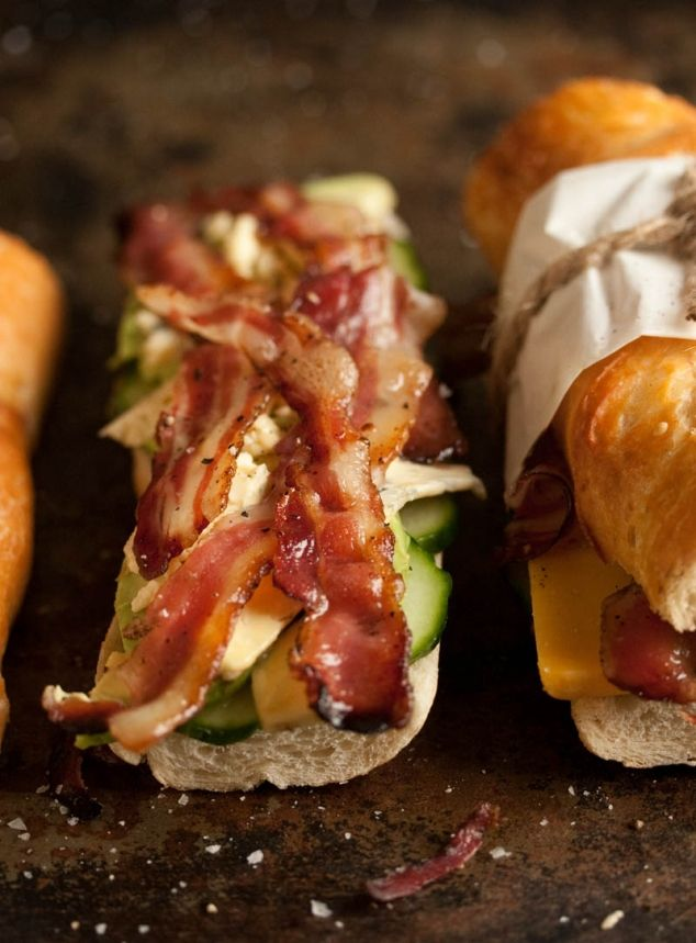 Bacon, blue cheese and avocado baguette.....would like to try this with feta instead of blue cheese