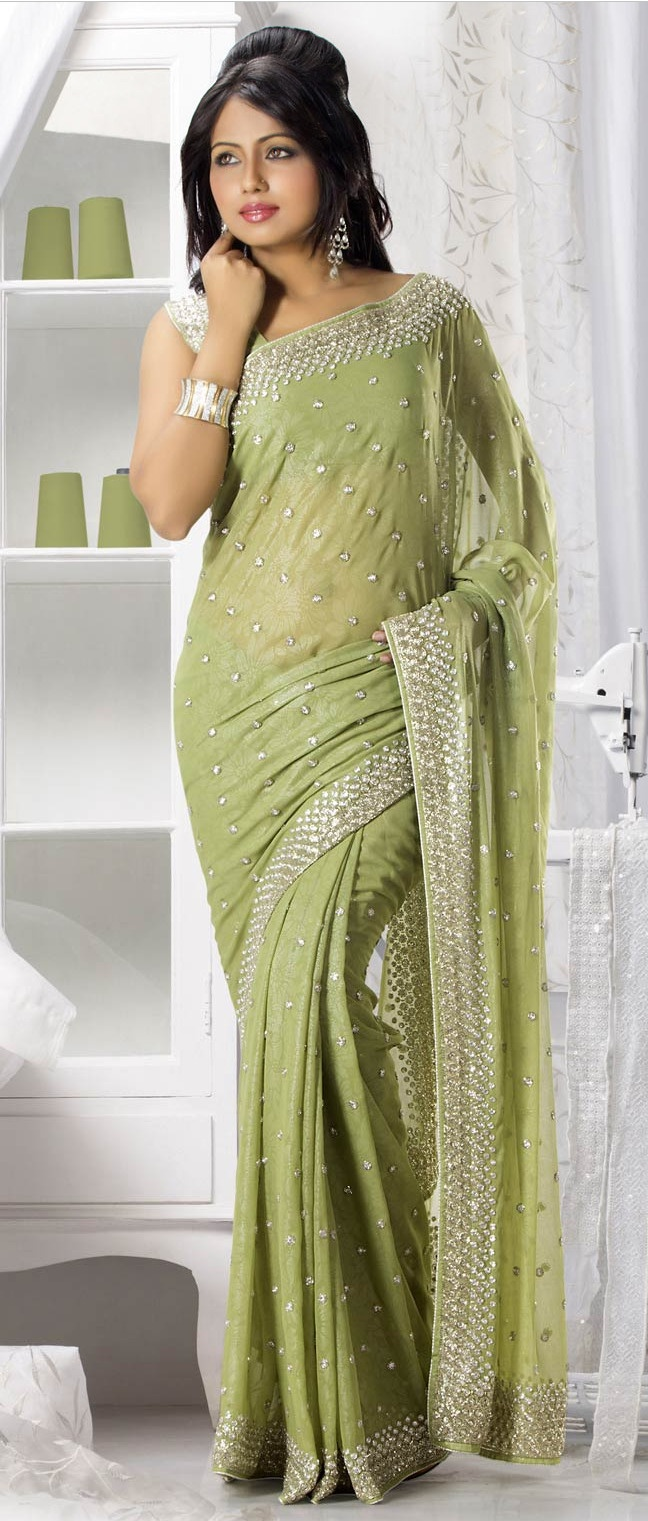 #Green Shimmer Faux Georgette #Saree With Blouse @ $237.68