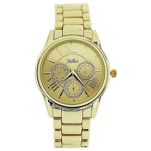 Reflex Unisex Chrono Effect All Gold Tone Metal Bracelet Strap Watch LB201