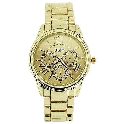 Reflex Unisex Chrono Effect All Gold Tone Metal Bracelet Strap Watch LB201