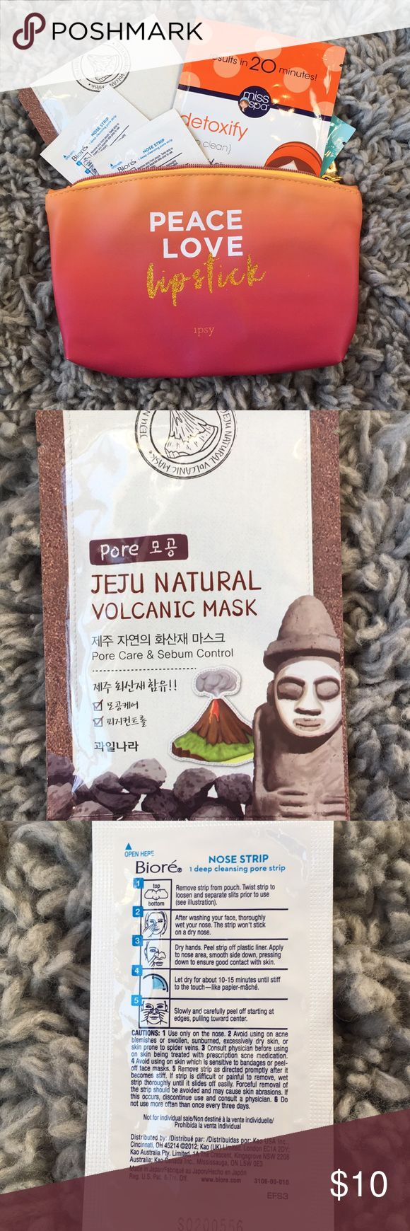 """FACE CARE BEAUTY BAG Comes with 2 Biore nose strips, 2 volcanic masks, and 2 """"miss spa"""" masks.  $25 value. MAKE AN OFFER ipsy Makeup"""