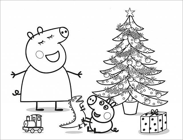 George e mamma Pig albero di Natale disegno da colorare gratis
