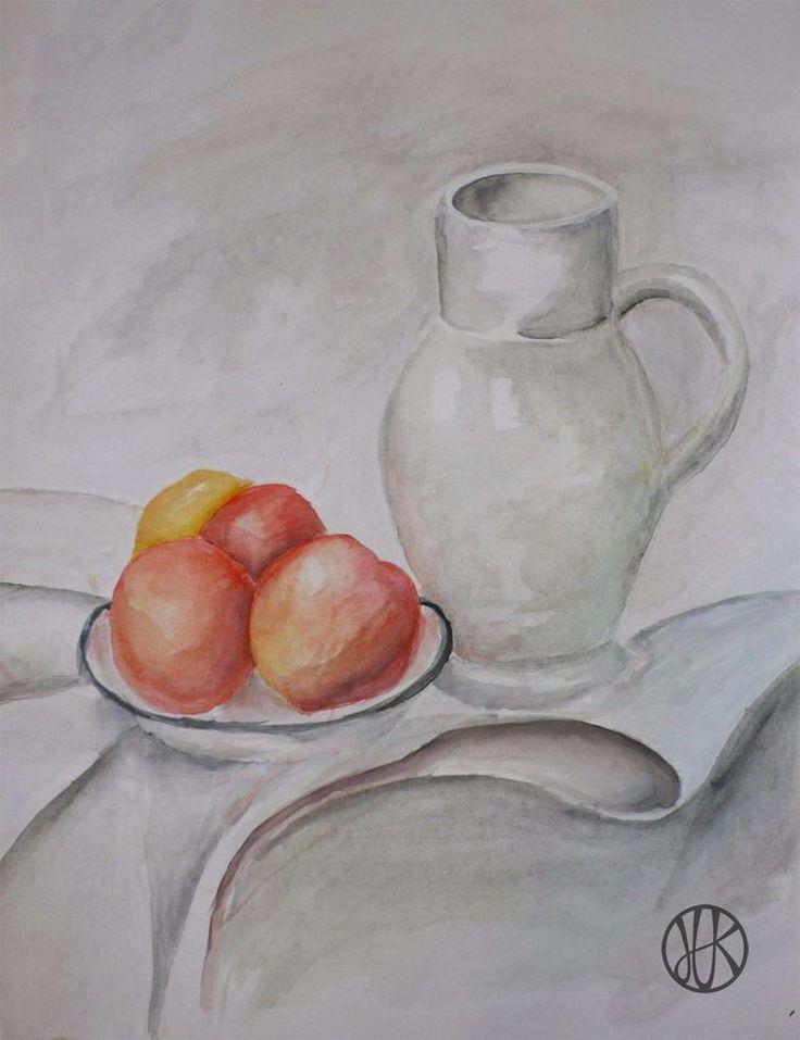 Painting still life #painting #stilllife #apple #pitcher