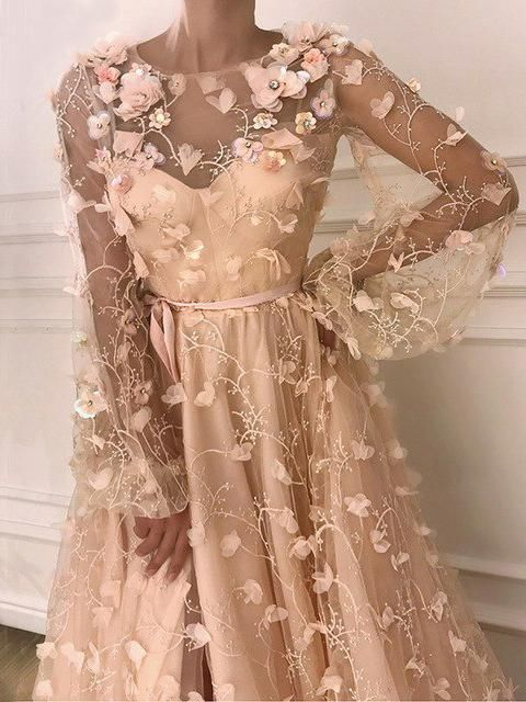 Chic a-line scoop long sleeve evening dress with floral prom dresses long evening dress AMY1928