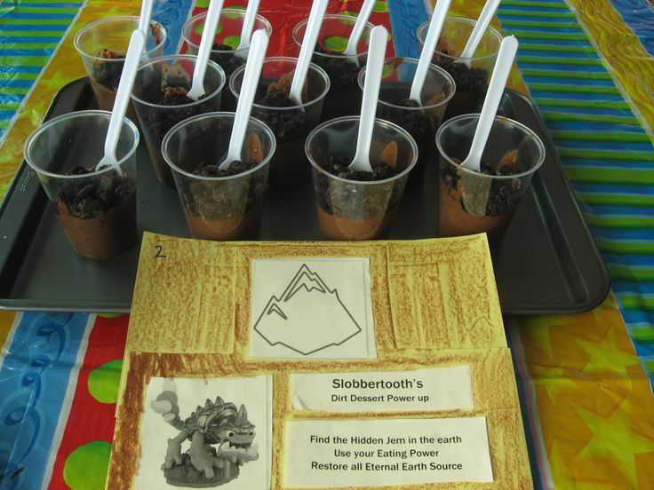 Skylanders Earth Element Mission Slobbertooths Dirt Cups Chocolate pudding and oreo crumbs on top... with a hidden jelly bean for a jem!