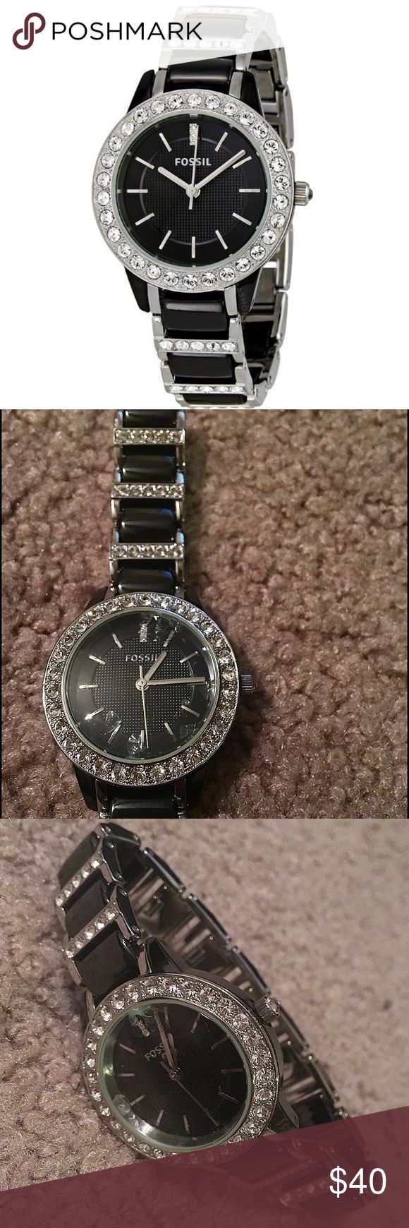 Stainless Steel and Ceramic FOSSIL Watch Women's FOSSIL two-tone Stainless Steel and black Ceramic watch with link band. Swarovski crystals around the bezel and on band. Watch is in good condition but crystal is cracked with loose pieces floating in face. Can be repaired by Fossil and have crystal replaced. Authentic. No trades! Fossil Accessories Watches