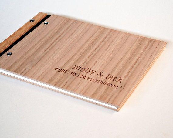 custom guest book wedding album engraved wood  engagement anniversary gift bridal shower // tasmanian oak 60 pages