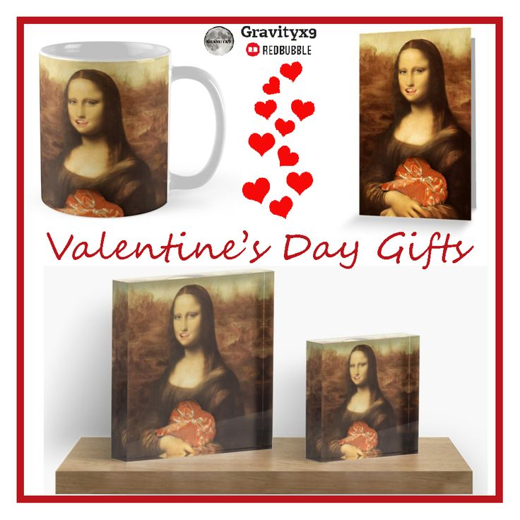 Mona Lisa Valentine Greeting Card and  gifts at Redbubble by #Gravityx9 Designs ~  • Also buy this artwork on stationery, apparel, stickers, and more. #valentinesdaycards    #justacard #valentinesday #valentinesgifts  #14thfebruary