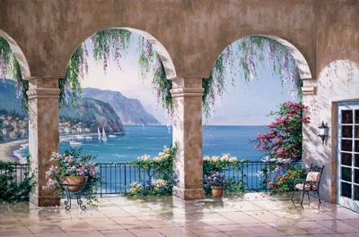 Mediterranean Arch Mural - Sung Kim| Murals Your Way this would look cool on Rachels dinning room wall