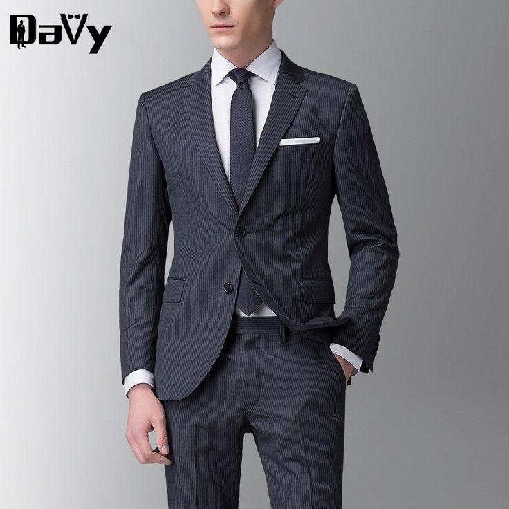 Tailor Made the groom's wedding dress Men's wedding suits Male Custom Made Stripe Wool business suit For Men Tailor Made Suit #Affiliate