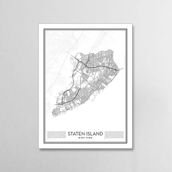 Staten Island New York City Map, Minimalist city maps, Staten Island Poster, Wall Art Gift