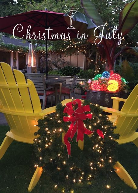 christmas in july invitation picture of our garden used for