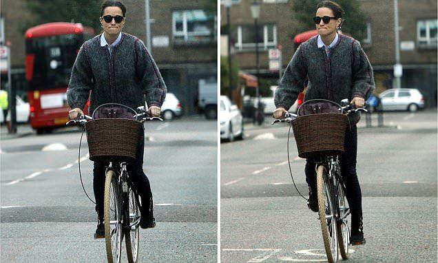 Pippa Middleton seen cycling through London
