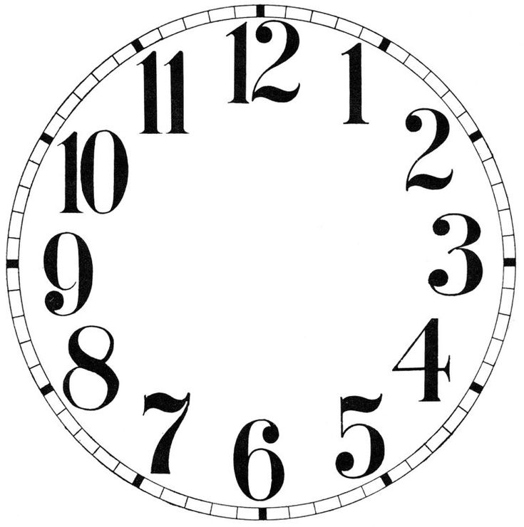 Handy image inside printable clock face with hands
