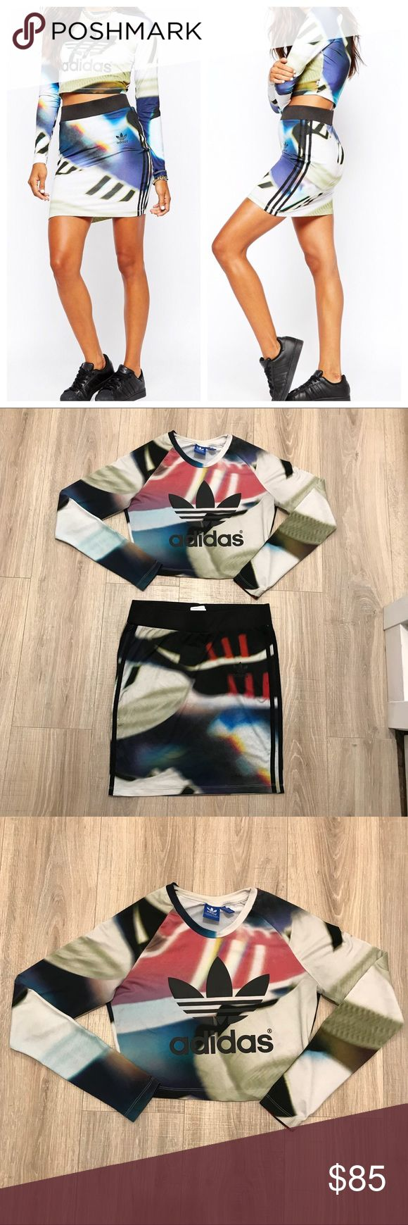 ADIDAS SHOE CHAOS MINI SKIRT & CROP TOP OUTFIT SET The skirt is a women's size small.  Lots of stretch.  Worn but no flaws.  Hard to find.   The crop top is a women's size small.  Lots of stretch.  Slight cracking on the logo (pictured. Very hard to see) Otherwise, no flaws.   Limited edition and hard to find!! Awesome set.  Wish it would fit me!! adidas Skirts Skirt Sets