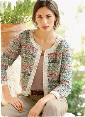 Old-world elements give our boxy pima jacket its classic couture status. Artisan-crocheted in an elegant gradation of tweeded pastels and framed in pearl white. With ¾-sleeves, faux flap pockets and a clean, buttonless placket.